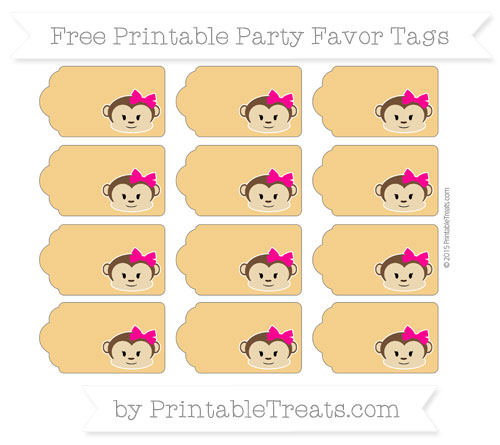 Free Marigold Girl Monkey Party Favor Tags
