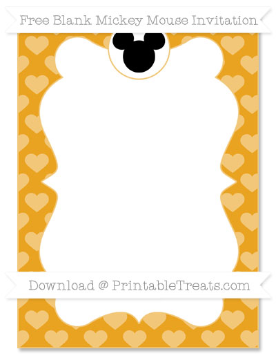 Free Marigold Heart Pattern Blank Mickey Mouse Invitation