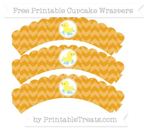 Free Marigold Herringbone Pattern Baby Duck Scalloped Cupcake Wrappers