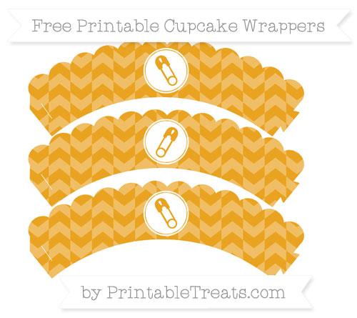 Free Marigold Herringbone Pattern Diaper Pin Scalloped Cupcake Wrappers