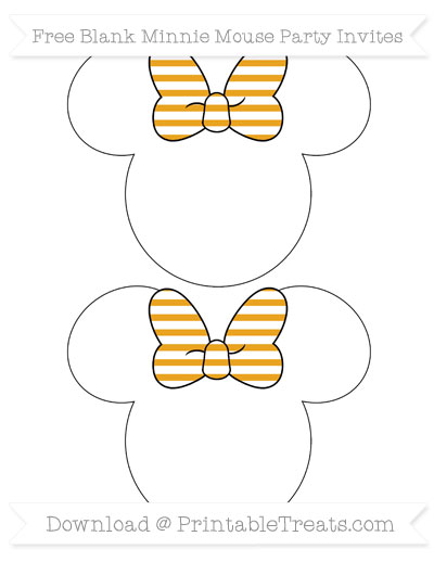 Free Marigold Horizontal Striped Blank Minnie Mouse Party Invites