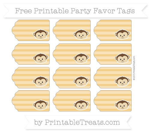 Free Marigold Horizontal Striped Boy Monkey Party Favor Tags