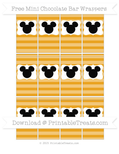 Free Marigold Horizontal Striped Mickey Mouse Mini Chocolate Bar Wrappers