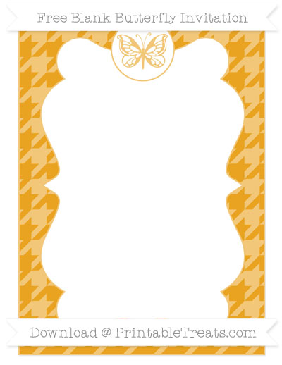Free Marigold Houndstooth Pattern Blank Butterfly Invitation