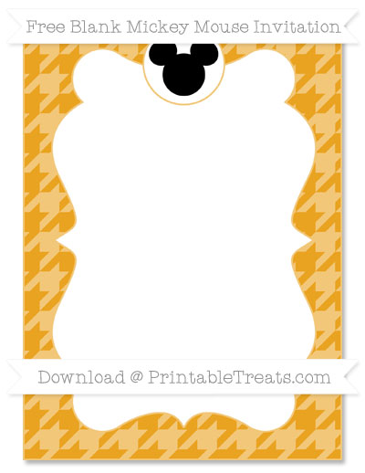 Free Marigold Houndstooth Pattern Blank Mickey Mouse Invitation