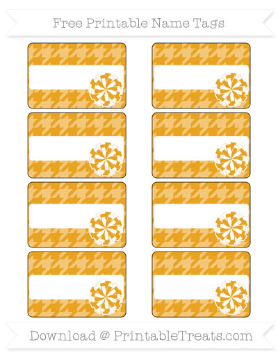 Free Marigold Houndstooth Pattern Cheer Pom Pom Tags