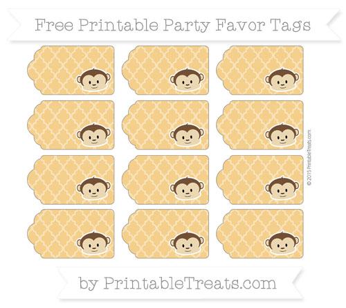 Free Marigold Moroccan Tile Boy Monkey Party Favor Tags