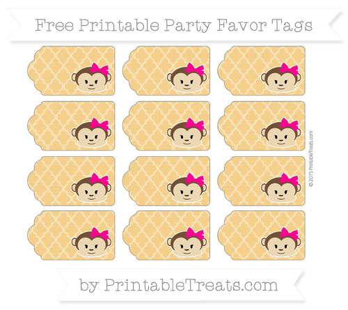 Free Marigold Moroccan Tile Girl Monkey Party Favor Tags