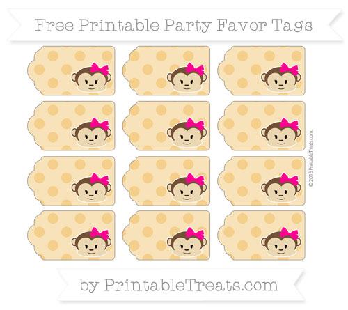 Free Marigold Polka Dot Girl Monkey Party Favor Tags