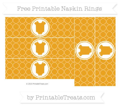 Free Marigold Quatrefoil Pattern Baby Onesie Napkin Rings