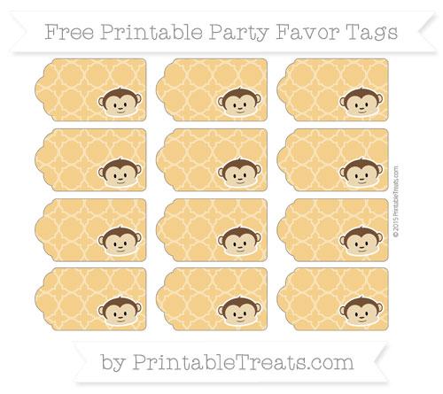 Free Marigold Quatrefoil Pattern Boy Monkey Party Favor Tags