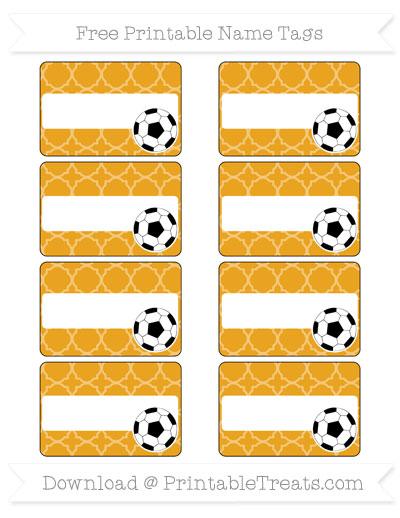 Free Marigold Quatrefoil Pattern Soccer Name Tags