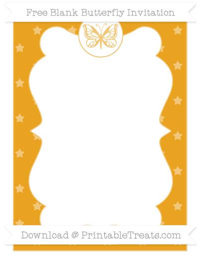 Free Marigold Star Pattern Blank Butterfly Invitation