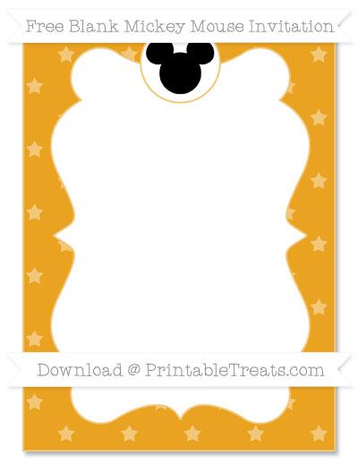 Free Marigold Star Pattern Blank Mickey Mouse Invitation