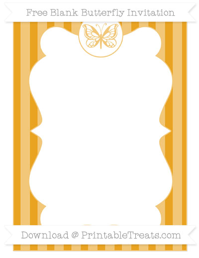 Free Marigold Striped Blank Butterfly Invitation