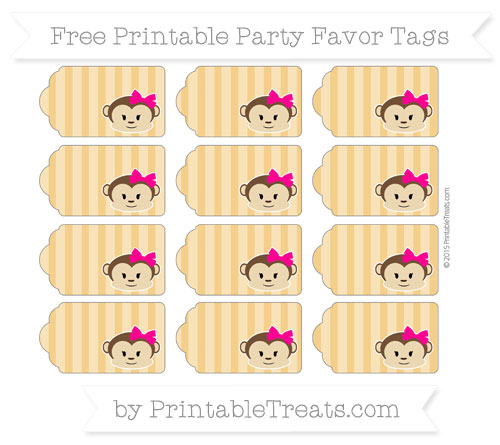 Free Marigold Striped Girl Monkey Party Favor Tags