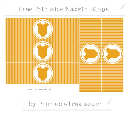 Free Marigold Thin Striped Pattern Baby Onesie Napkin Rings