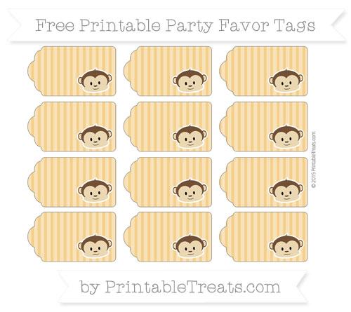 Free Marigold Thin Striped Pattern Boy Monkey Party Favor Tags