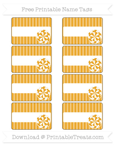 Free Marigold Thin Striped Pattern Cheer Pom Pom Tags