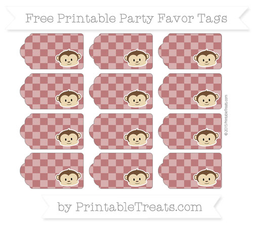 Free Maroon Checker Pattern Boy Monkey Party Favor Tags