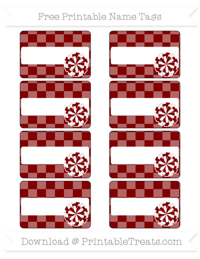 Free Maroon Checker Pattern Cheer Pom Pom Tags