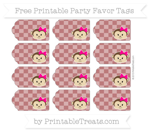 Free Maroon Checker Pattern Girl Monkey Party Favor Tags