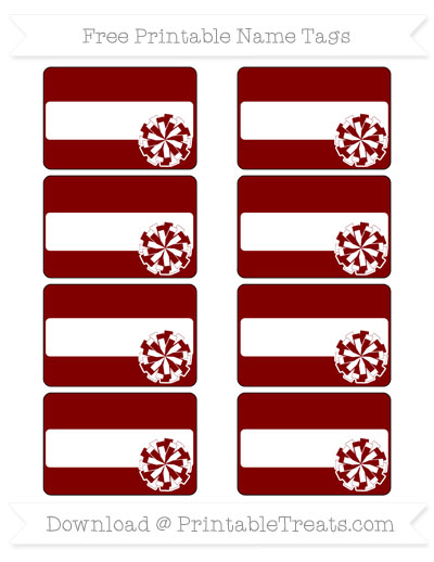 Free Maroon Cheer Pom Pom Tags