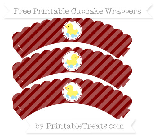 Free Maroon Diagonal Striped Baby Duck Scalloped Cupcake Wrappers