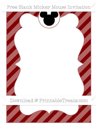 Free Maroon Diagonal Striped Blank Mickey Mouse Invitation