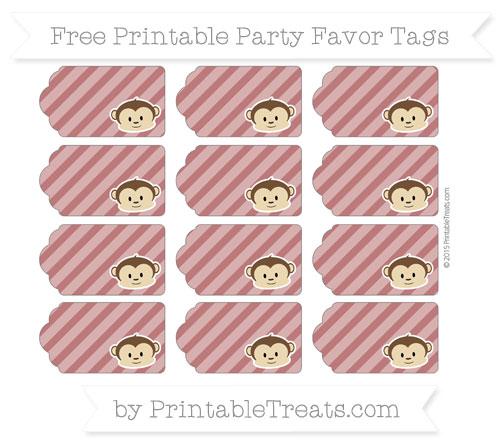 Free Maroon Diagonal Striped Boy Monkey Party Favor Tags