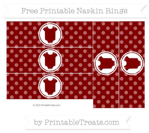 Free Maroon Dotted Pattern Baby Onesie Napkin Rings