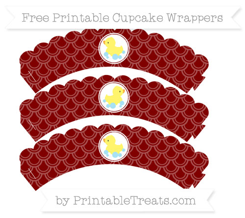 Free Maroon Fish Scale Pattern Baby Duck Scalloped Cupcake Wrappers