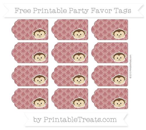 Free Maroon Fish Scale Pattern Boy Monkey Party Favor Tags