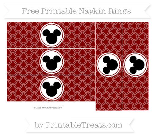 Free Maroon Fish Scale Pattern Mickey Mouse Napkin Rings