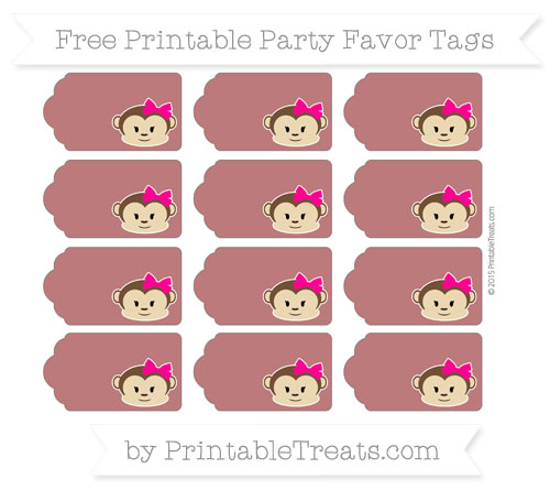 Free Maroon Girl Monkey Party Favor Tags
