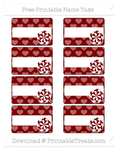 Free Maroon Heart Pattern Cheer Pom Pom Tags