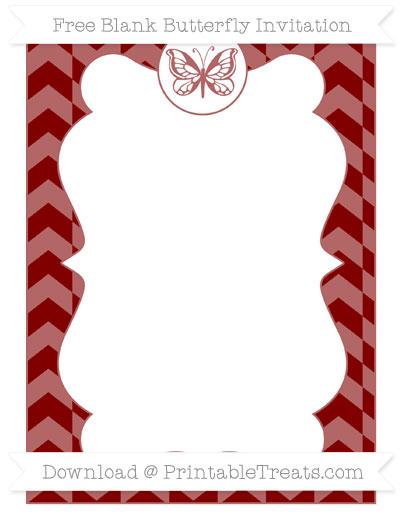 Free Maroon Herringbone Pattern Blank Butterfly Invitation