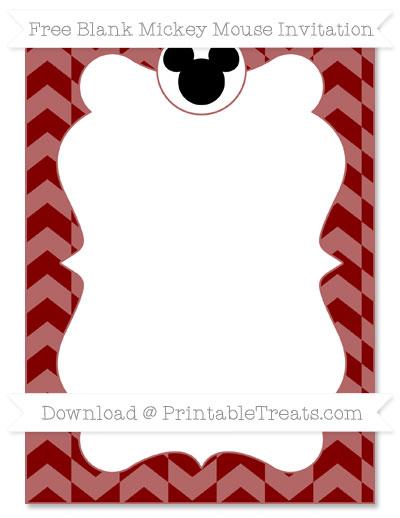 Free Maroon Herringbone Pattern Blank Mickey Mouse Invitation