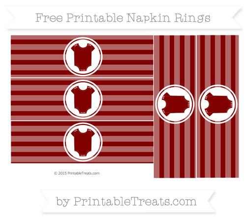 Free Maroon Horizontal Striped Baby Onesie Napkin Rings
