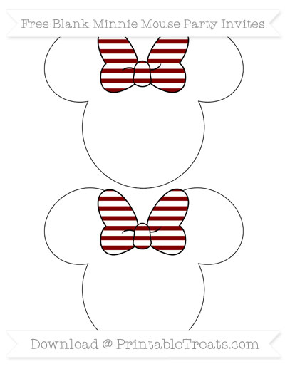Free Maroon Horizontal Striped Blank Minnie Mouse Party Invites