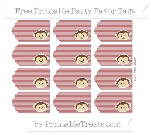 Free Maroon Horizontal Striped Boy Monkey Party Favor Tags