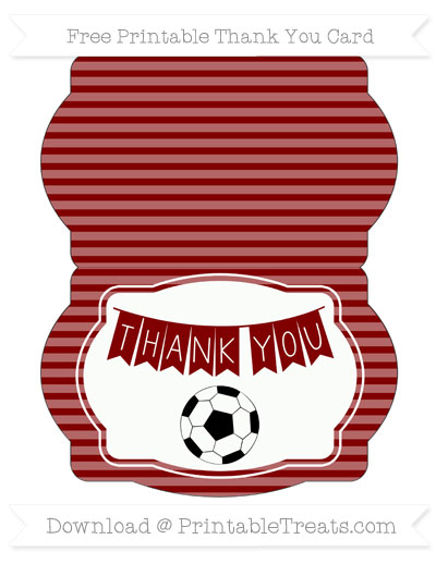 Free Maroon Horizontal Striped Soccer Thank You Card