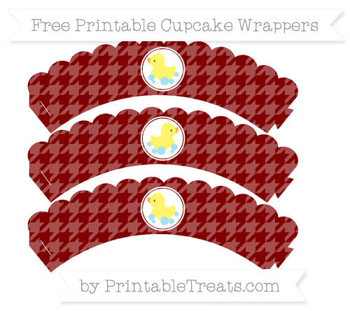Free Maroon Houndstooth Pattern Baby Duck Scalloped Cupcake Wrappers