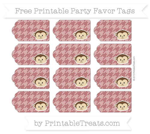 Free Maroon Houndstooth Pattern Boy Monkey Party Favor Tags