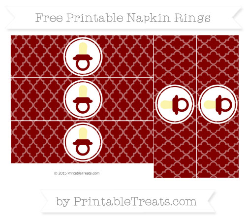 Free Maroon Moroccan Tile Baby Pacifier Napkin Rings