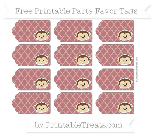 Free Maroon Moroccan Tile Boy Monkey Party Favor Tags