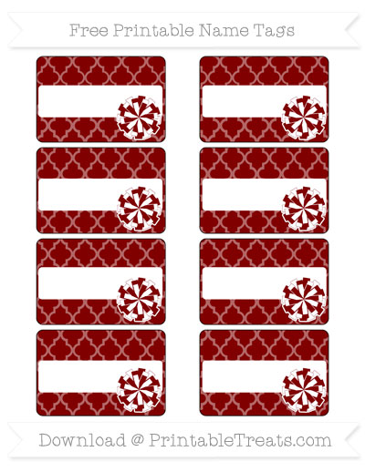 Free Maroon Moroccan Tile Cheer Pom Pom Tags
