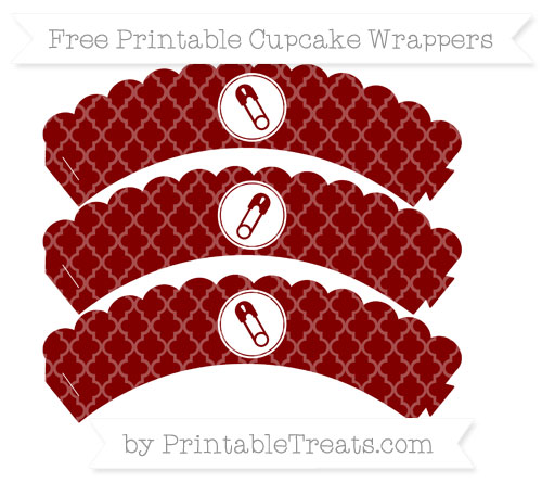 Free Maroon Moroccan Tile Diaper Pin Scalloped Cupcake Wrappers