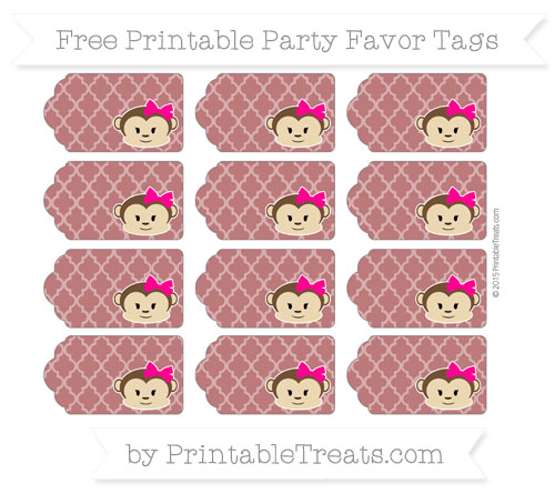 Free Maroon Moroccan Tile Girl Monkey Party Favor Tags
