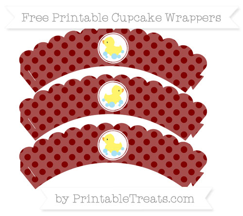 Free Maroon Polka Dot Baby Duck Scalloped Cupcake Wrappers